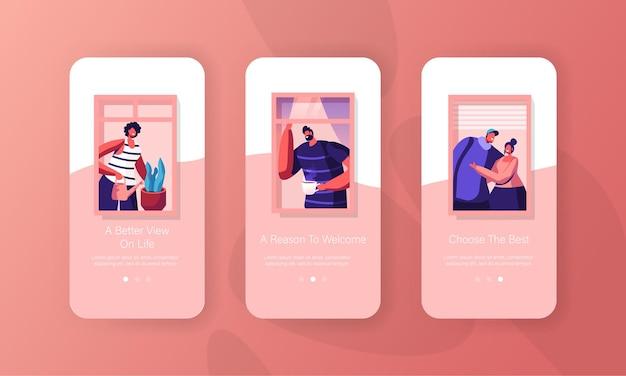 Personen zu hause mobile app seite onboard screen set.