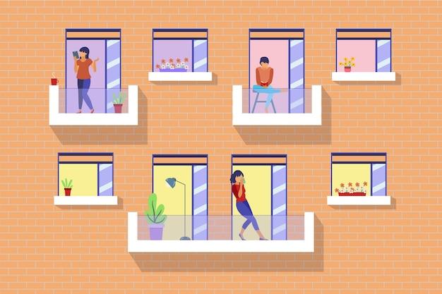 Personenaktivität auf balkon dargestellt