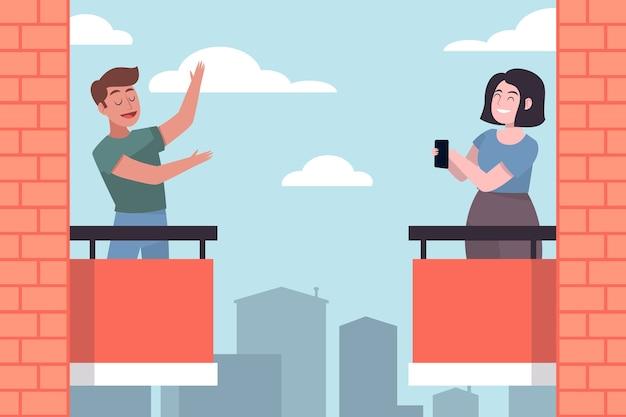 Personenaktivität auf balkon illustriertes design