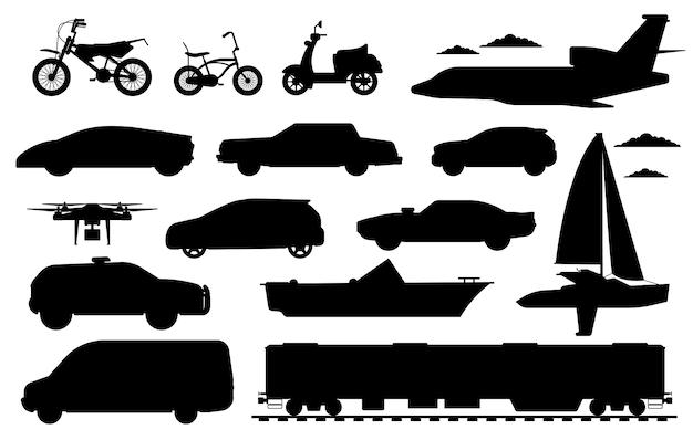Personenbeförderungsset. öffentliche, private pkw-silhouetten. isoliertes auto, zug, drohnenflugzeug, lieferwagenauto, fahrrad, motorradautotransport flache symbolsammlung, transport