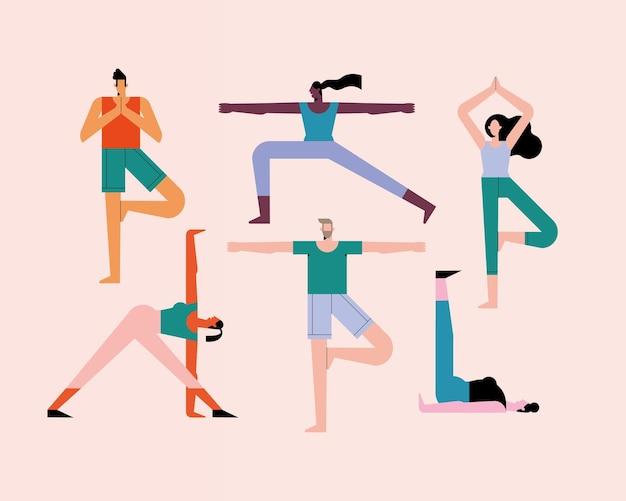 Personengruppe, die yoga-charaktere praktiziert