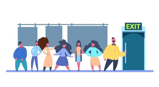 Personengruppe gehen tür aus umkleidekabine über weißem hintergrund flach horizontal
