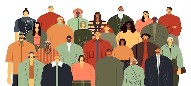 Personengruppe. gemeinschaftsporträt, team, das zusammensteht und verschiedene leute verdrängen illustration. ethnische vielfalt. multikulturelle zeichentrickfiguren auf weißem hintergrund