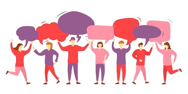 Personengruppen-chat. gruppieren sie charaktere mit kommunikationsblasen. zusammenarbeit. botschaft. sprechblasen. ikonen frauen und männer mit bunten dialog-sprechblasen. illustration ,.