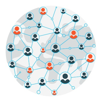 Personenkarte. kartenillustration für kommunikation und soziale netzwerke