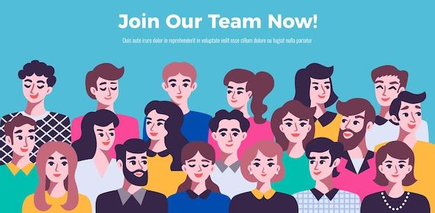 Personenkommunikationsbanner mit männlichen und weiblichen avataren