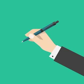 Personenmannhand, die kugelschreiber oder bleistift lokalisierte flache karikatur hält