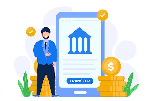 Personentransfer über online-banken konzeptillustration