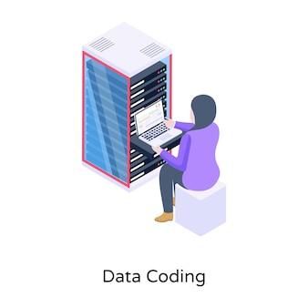 Personenüberwachungsserver-datensicherheit auf isometrischem symbol des laptops