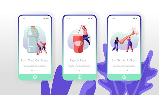 Personenzeichen mit kunststoff-dingen konzept mobile app page onboard screen set