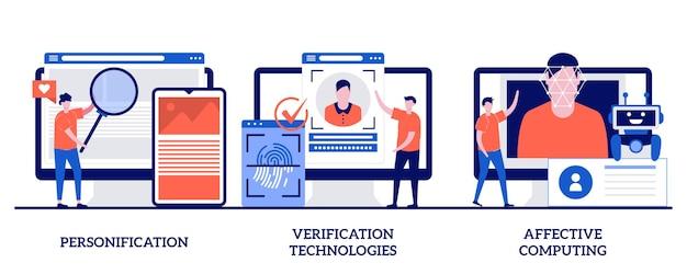 Personifizierung, verifikationstechnologien, affektives computing mit winzigen personen. datenzugriff und benutzererfahrung festgelegt. benutzerpasswort, social media account.