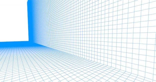 Perspective raster bodenfliese. ausführliche blaue linien auf weißem hintergrund.