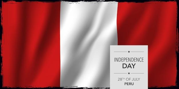 Peru glücklicher unabhängigkeitstag grußkarten-banner-vektor-illustration