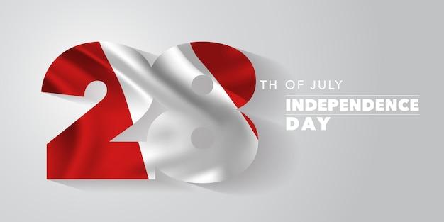 Peru happy independence day grußkarte, banner, vektor-illustration. peruanischer nationalfeiertag 28. juli hintergrund mit elementen der flagge
