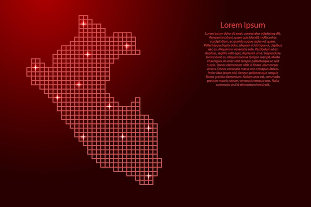 Peru-kartensilhouette aus roten mosaikstrukturquadraten und leuchtenden sternen. vektor-illustration.