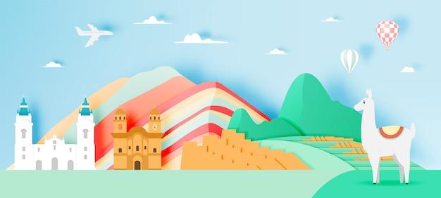 Peru-reise mit papierkunst machu picchu mit pastellfarbschema-vektorillustration