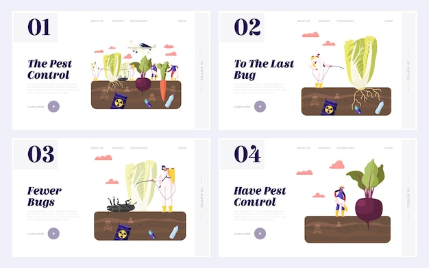 Pest control landing page template set.