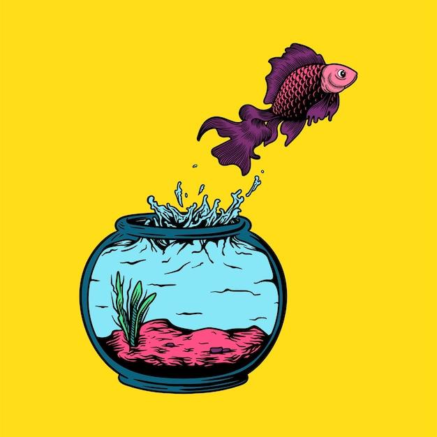 Pet fisch springt aus dem aquarium