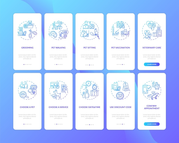 Pet services onboarding mobile app-seitenbildschirm mit festgelegten konzepten