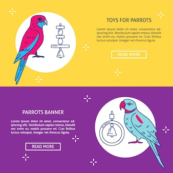 Pet shop banner vorlagen mit papageien