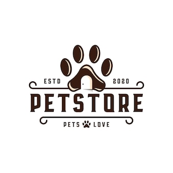Pet shop emblem logo vorlage