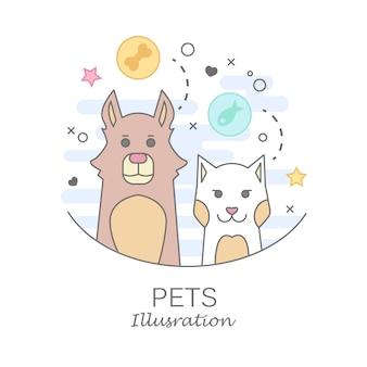 Pet shop logo design-vorlagen in flachen cartoon-stil - freundliche katzen und hunde