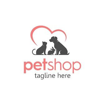 Pet shop pflege einfaches logo