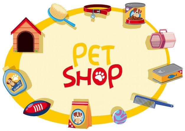 Pet shop schild mit vielen haustier zubehör