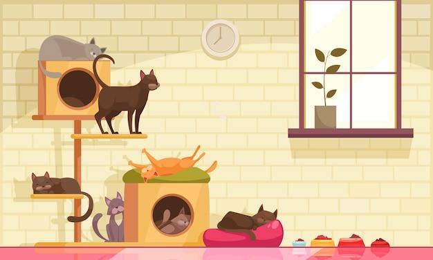 Pet sitter katzen zusammensetzung mit innenansicht des raumes mit fenster und katzenwiegen mit futter