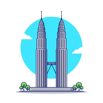 Petronas twin tower cartoon icon illustration. famous building travelling icon concept isoliert. flacher cartoon-stil