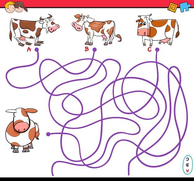 Pfad labyrinth-spiel mit kühen