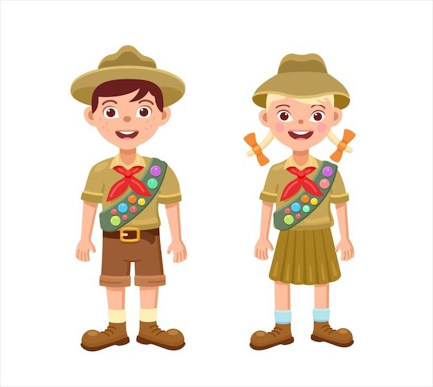 Pfadfinder des jungen und des mädchens in der flachen illustration der pfadfinderuniformen