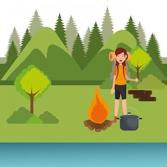 Pfadfinderin in der camping-zone-szene