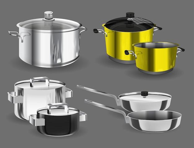 Pfannentöpfe und töpfe. küchenpfannenobjekte, realistische sammlung von küchenutensilien.