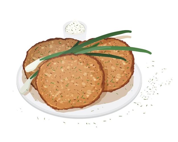 Pfannkuchen, blini oder crpes serviert auf teller mit schalotten oder frühlingszwiebeln und sauce auf weißem hintergrund. traditionelles essen der russischen küche. leckeres warmes frühstück. vektor-illustration.