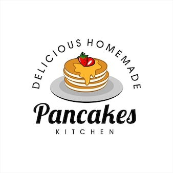 Pfannkuchen logo design bäckerei vektor icon