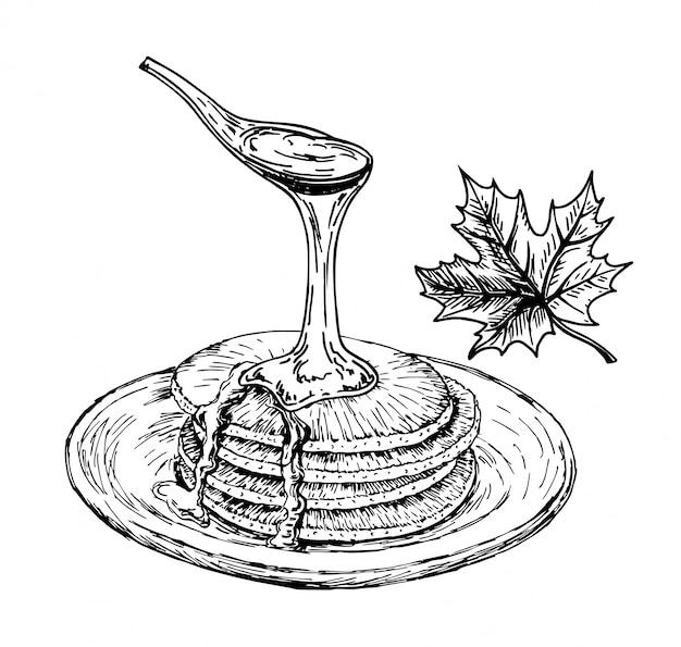 Pfannkuchen mit ahornsirup. pfannkuchen auf der plattenskizze, frühstück. vintage handgezeichneter zeichenstil.