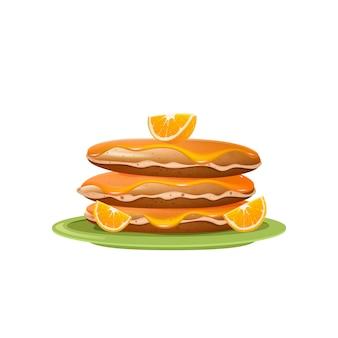 Pfannkuchen mit orangenmarmelade