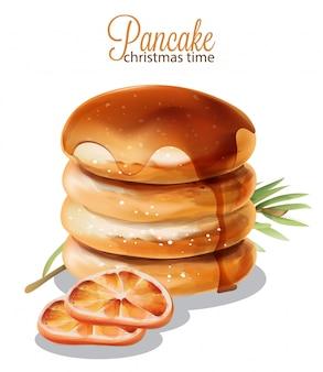Pfannkuchen mit sirup.
