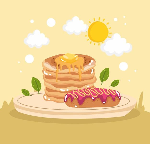 Pfannkuchen und sahnetorte