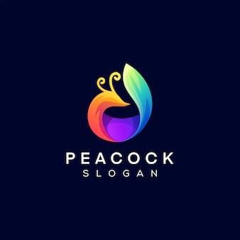Pfau farbverlauf logo design