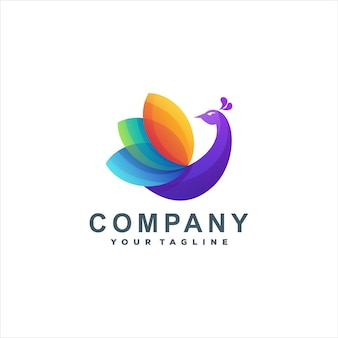Pfau farbverlauf logo-design