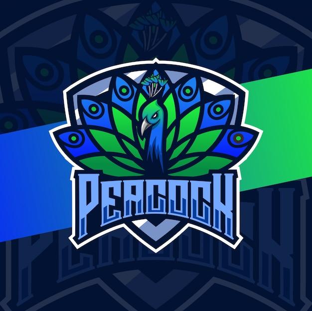 Pfau vogel maskottchen esport logo design