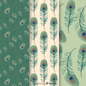 Pfauenfedermusterkollektion mit flachem design