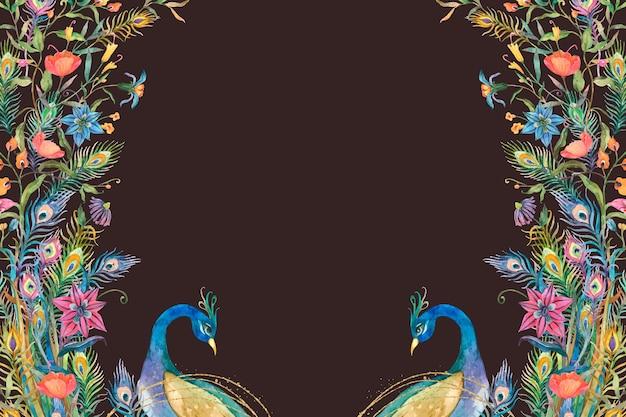 Pfauenrahmenvektor mit aquarellblumen auf schwarzem hintergrund Kostenlosen Vektoren