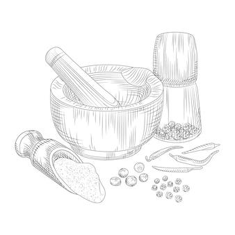 Pfeffer in einem mörser mit einem stößel. piment, schwarzer pfeffer und chili.
