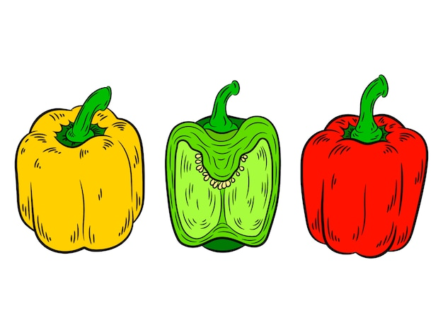 Pfefferweinlese rote, grüne, gelbe farbe.