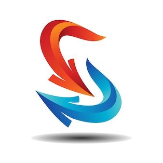 Pfeil-buchstabe-s-logo, abstraktes s-logo pfeil-doppeltes