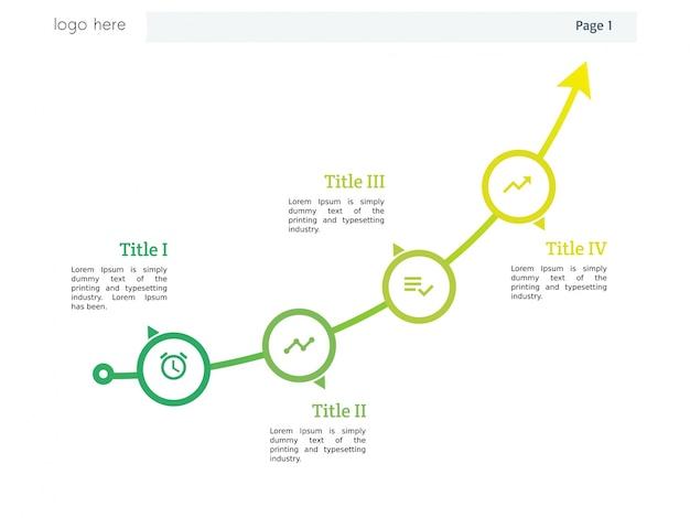 Pfeil-diagramm mit vier element vorlage und powerpoint und infografik