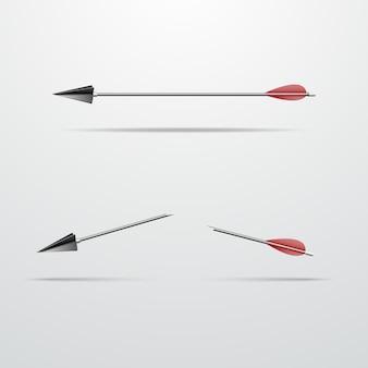 Pfeil für einen bogen ganz und in zwei hälften gebrochen vektorillustration